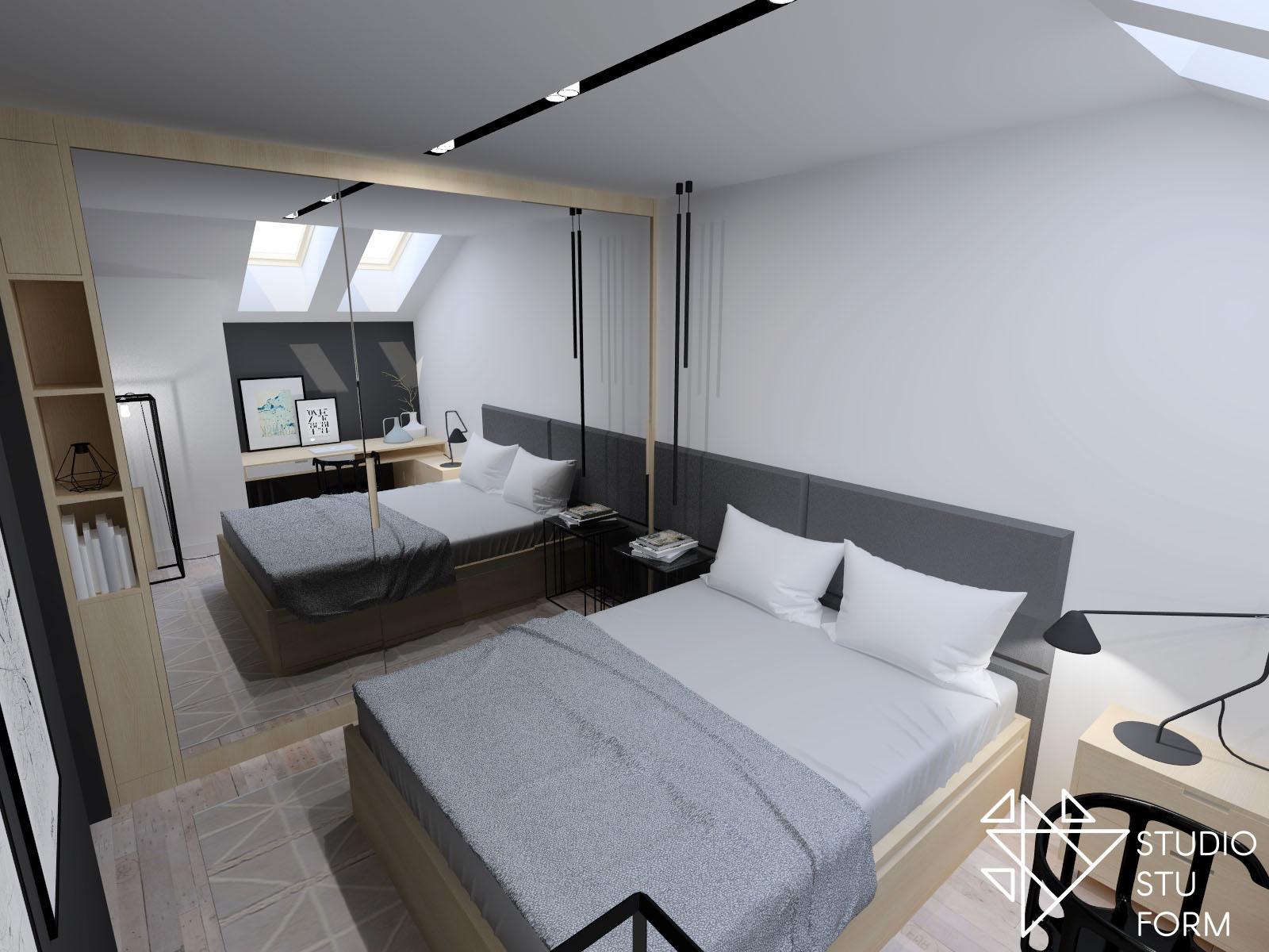 sypialnia z dużym lustrem