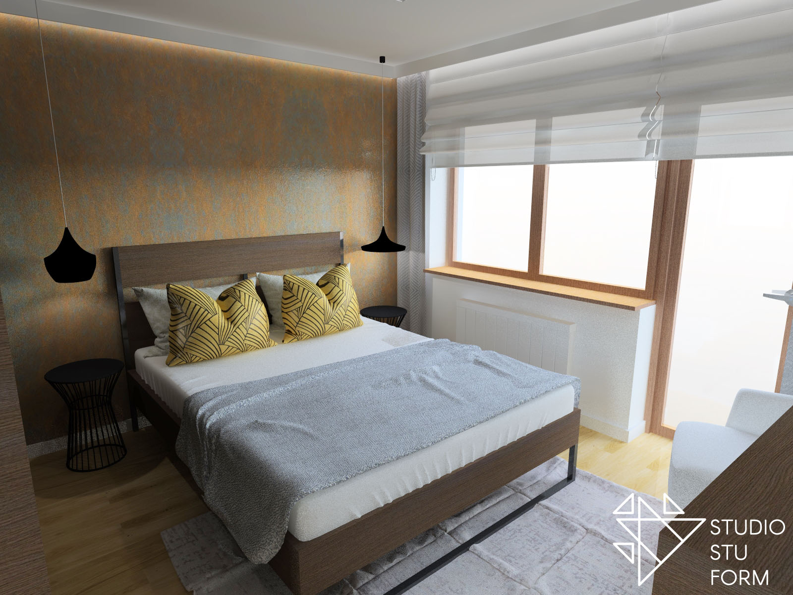 sypialnia w brązie
