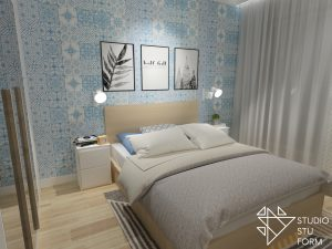 sypialnia z marokańską tapetą
