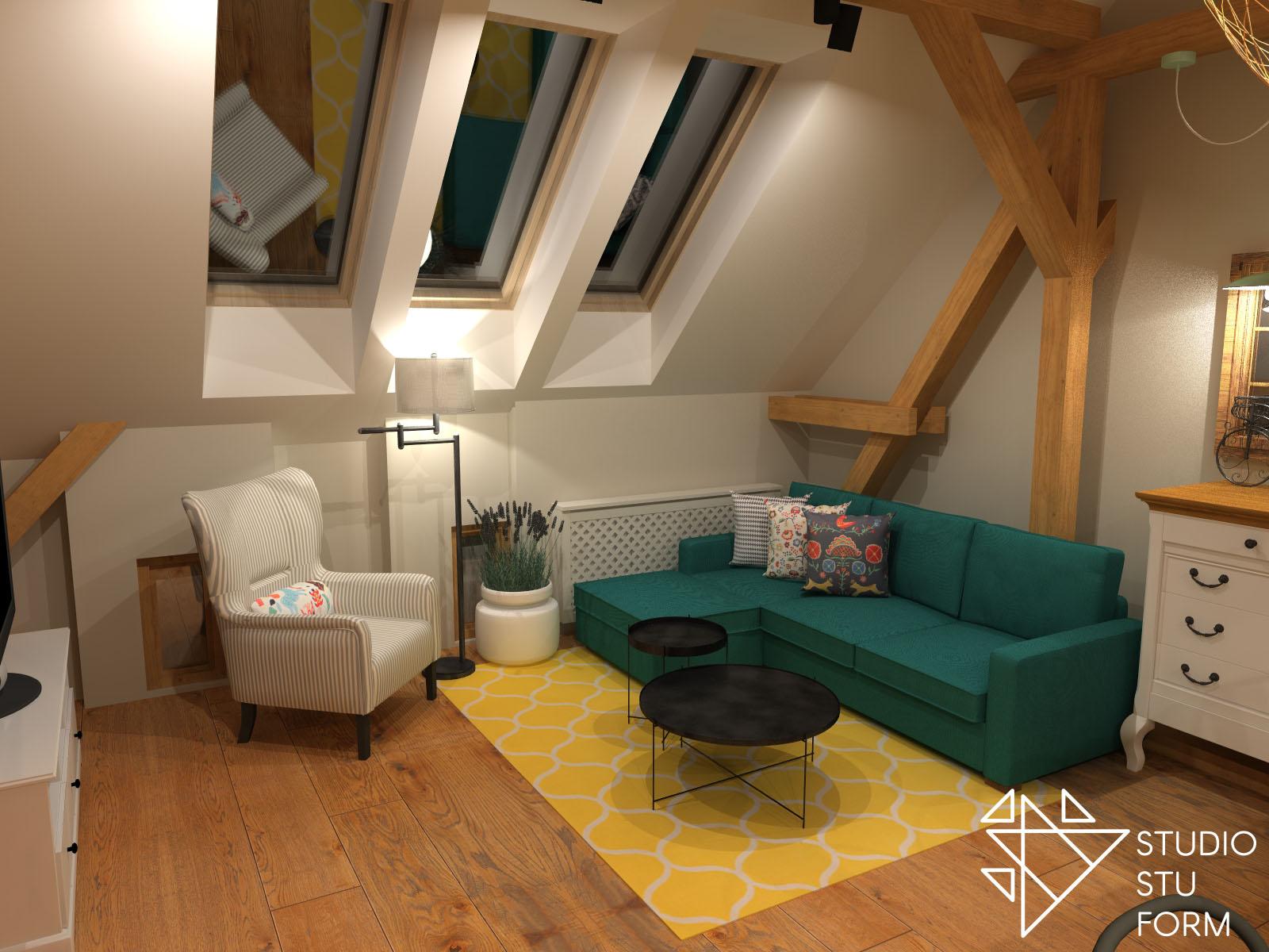 salon z turkusową kanapą