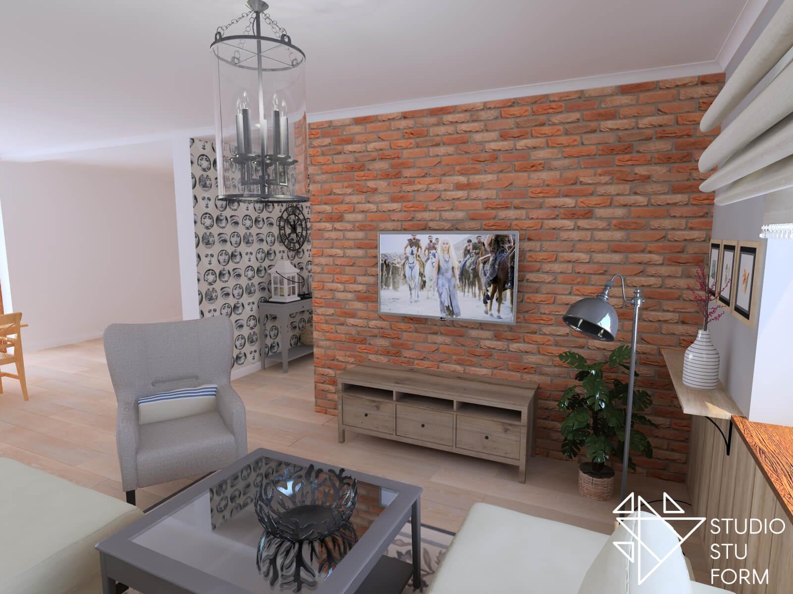 Salon z ścianą z cegły
