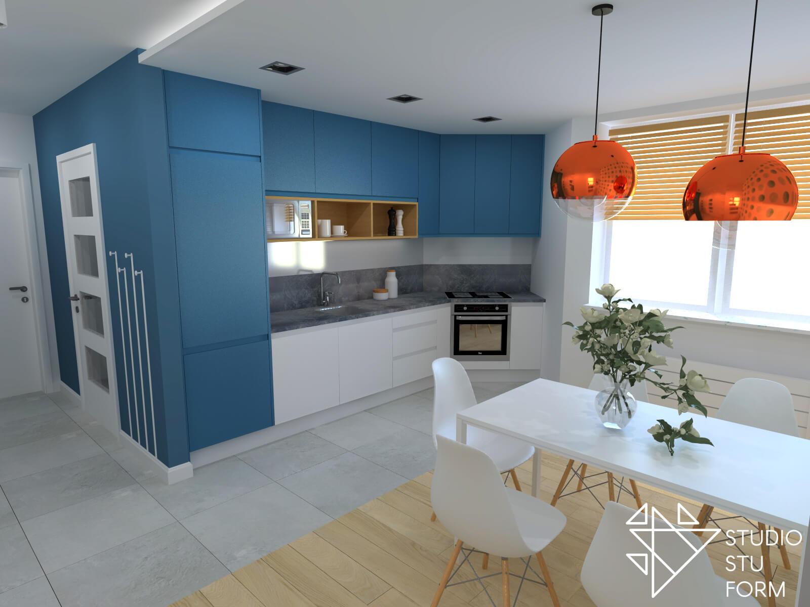Niebieski aneks kuchenny