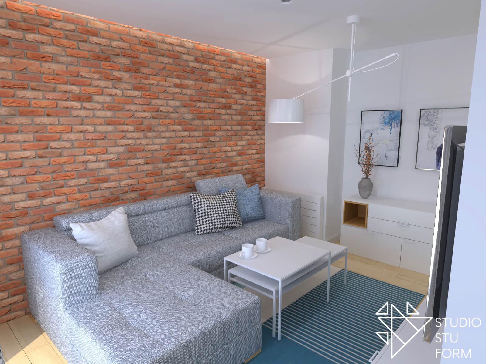 Salon z ceglaną ścianą