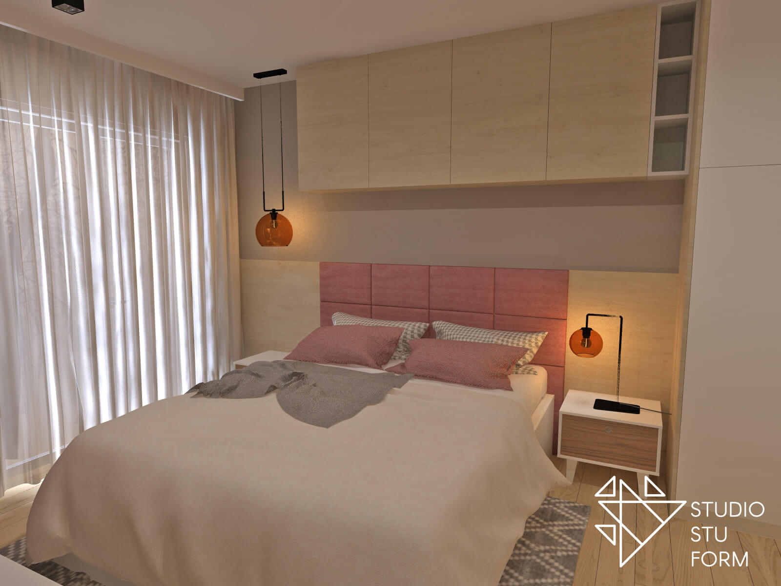 Sypialnia z drewnianą zabudową