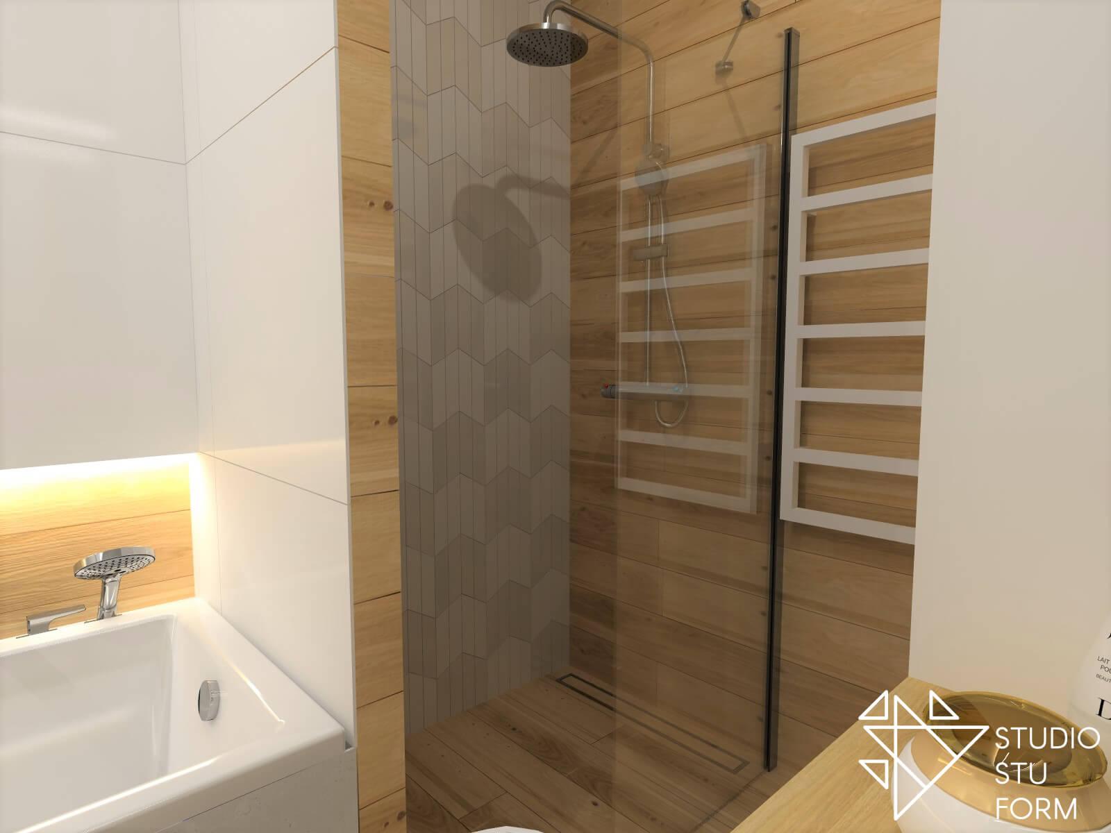 Kafle drewnopodobne prysznic