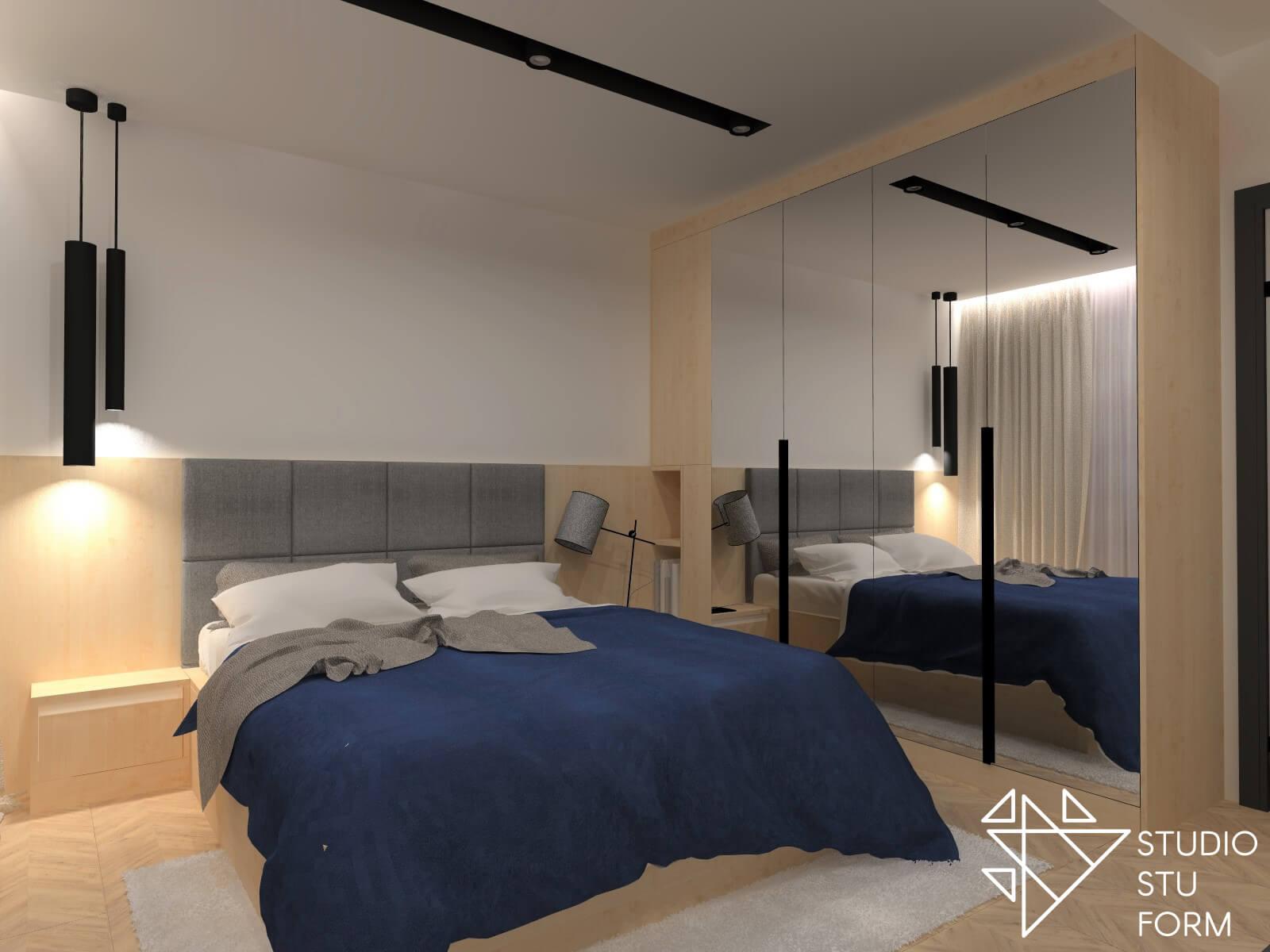 Sypialnia z drewnianym wykończeniem